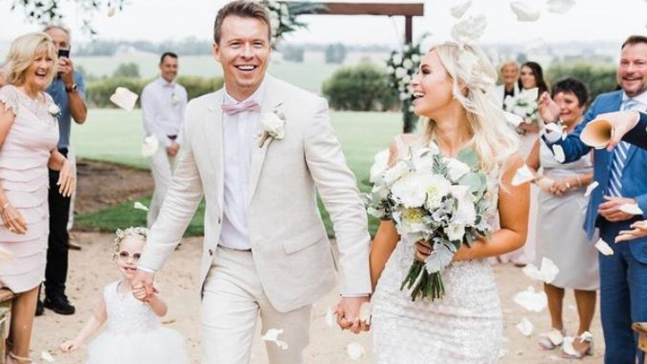 Bondi Rescue's Trent Maxwell and long-time girlfriend Tahlia Plucke wed in a rural celebration in January 2020. Picture: Instagram/@lifeguardmaxi