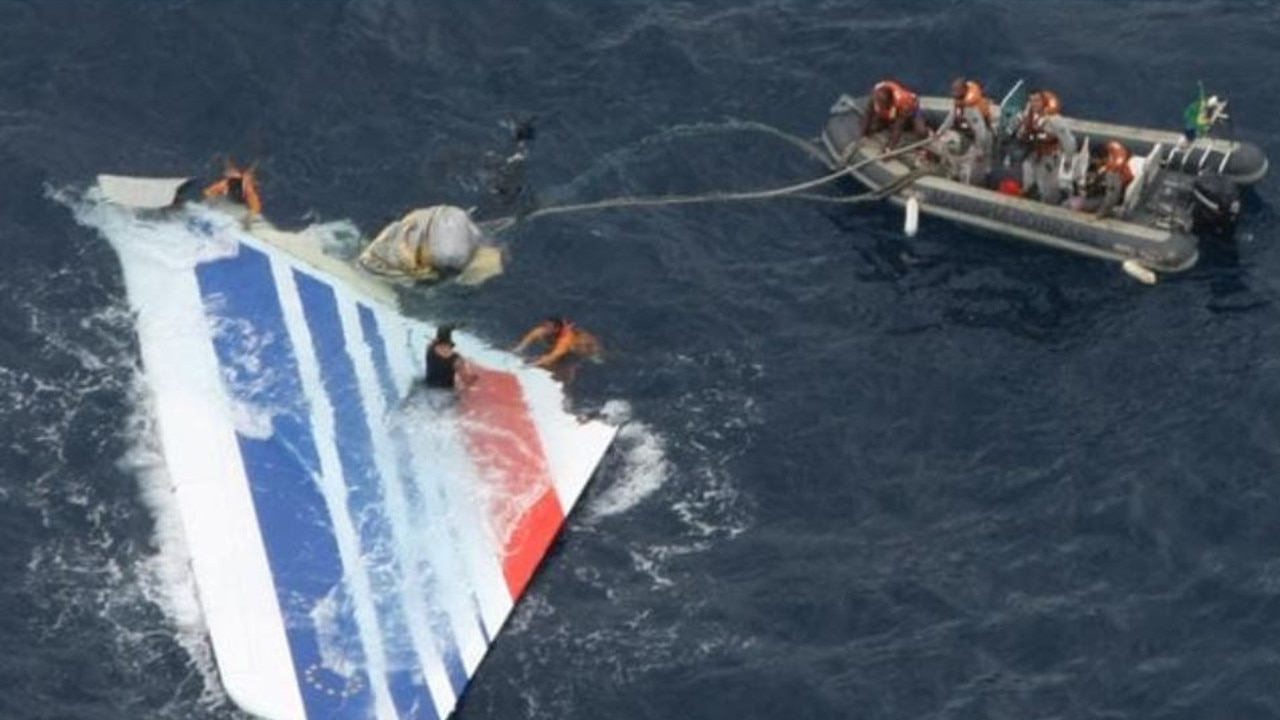 Brazilian navy sailors recover debris from Air France Flight 447 in the Atlantic Ocean. Picture: Brazil's Air Force/AP