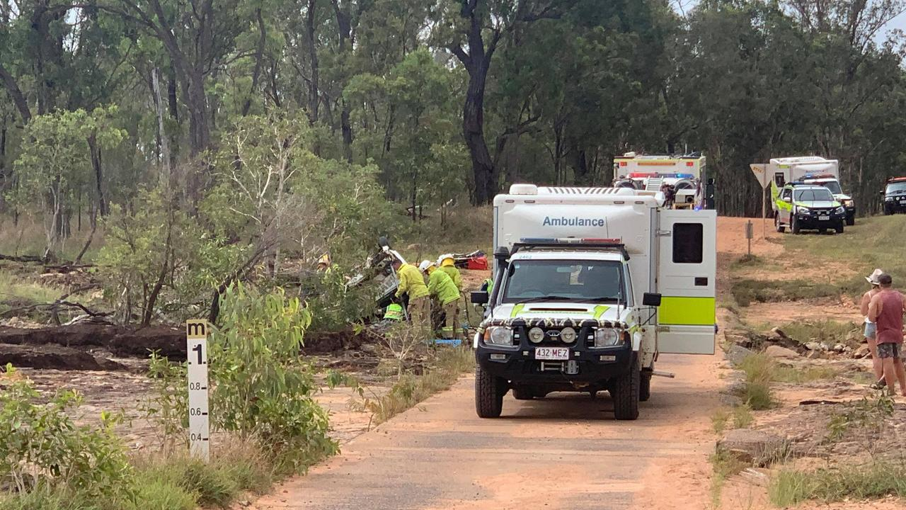 Emergency crews at the scene of the Stanage crash. Picture: Shayla Bulloch
