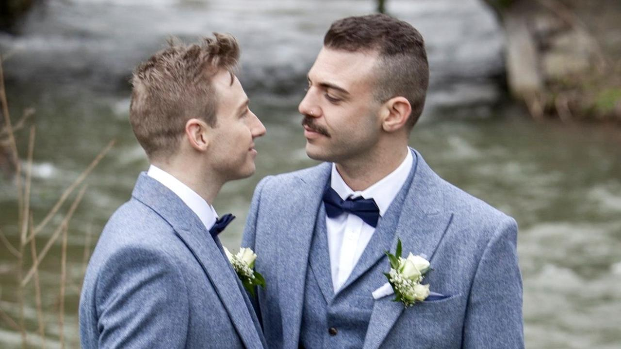 Australian diver Matthew Mitcham and partner Luke Rutherford at their wedding in Europe. Picture: Supplied