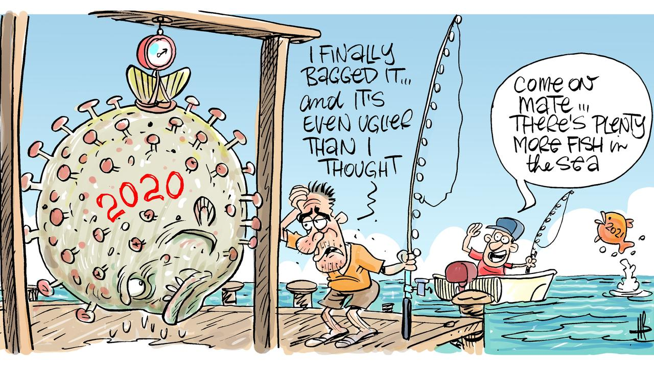 Cartoonist Harry Bruce's take on finally saying goodbye to 2020. Let's hope 2021 brings prosperous waters to Mackay fishers. Today's Harry Bruce cartoon has been brought to you by Dawson MP George Christensen. George is a proud supporter of free speech and the ability of our cartoonists to take the mickey out of the political class. Picture: Harry Bruce