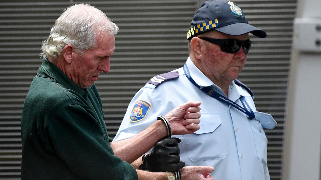 Edward Lord (left) is escorted into a corrections van at the NSW Supreme Court in Sydney, Friday, February 21, 2020. Edward Kenneth Lord, 54, pleaded guilty to the manslaughter of his wife of 25 years, Michele Lord, who died in October 2015 after he drove into the Tweed River in northern NSW during an argument. (AAP Image/Bianca De Marchi)