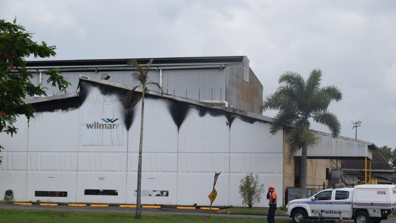 A fire severely damaged a stores building at Proserpine Mill on Friday, January 10, 2020. Picture: Deborah Friend