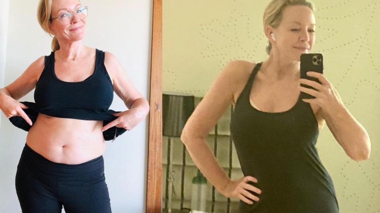 Rebecca Gibney showing off her belly – pre and post trim down. Picture: Instagram
