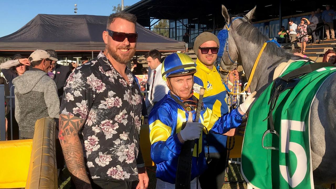 Trainer Ricky Vale with winning jockey RyanWiggins unsaddling Rocky Cup winner Absolut Artie earlier this year. Picture: Tony McMahon.