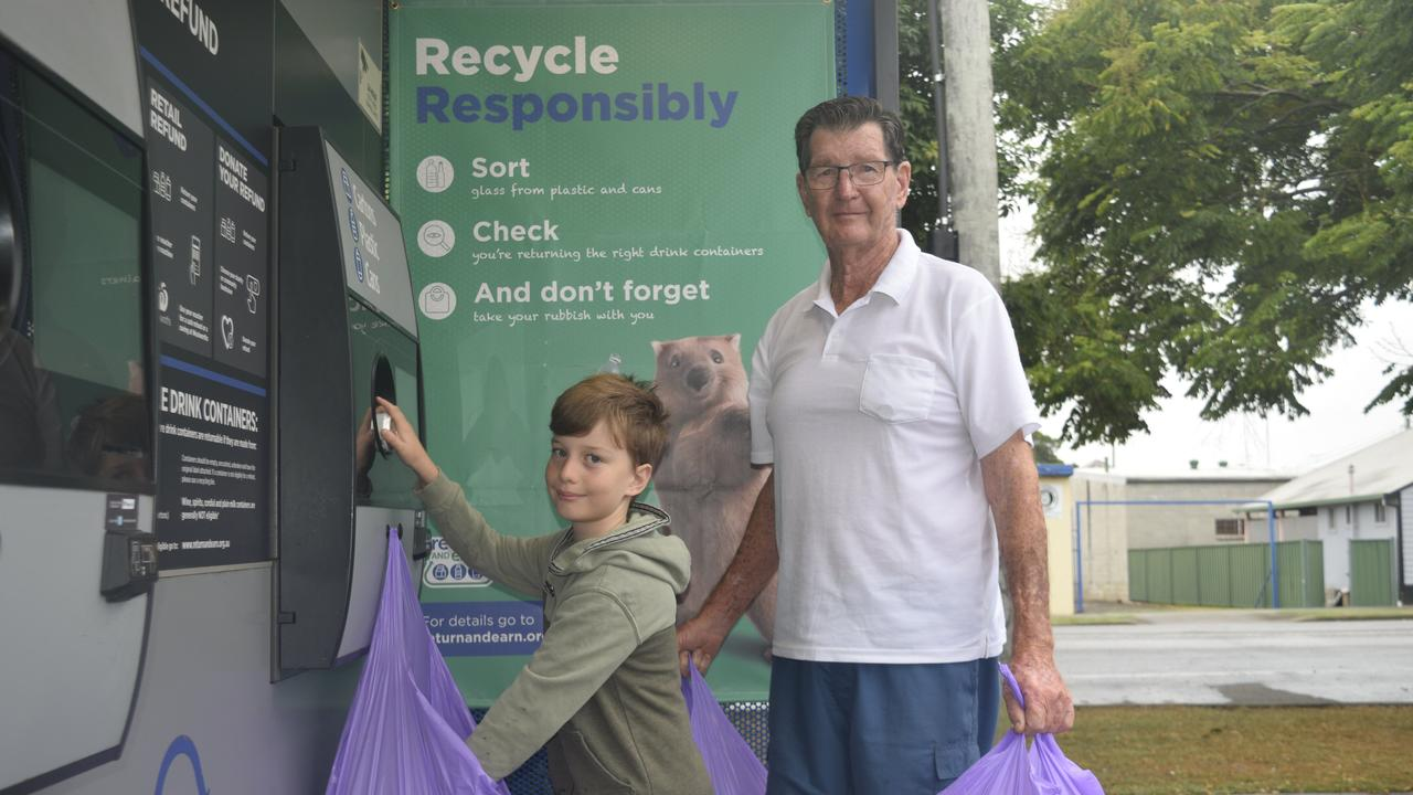 CLEAN MINDED: Richard Eastwood and his Grandson Alba Eastwood collect litter from around Grafton and recycle it at their local return and earn facility.