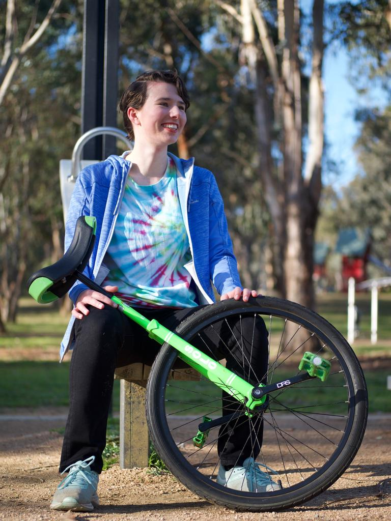 Stephanie Schultz, from Alstonville, is unicycling 120 kilometres over 30 days in September for Starlight Children's Foundation Tour de Kids Challenge (Credit: Lawrence Monro)