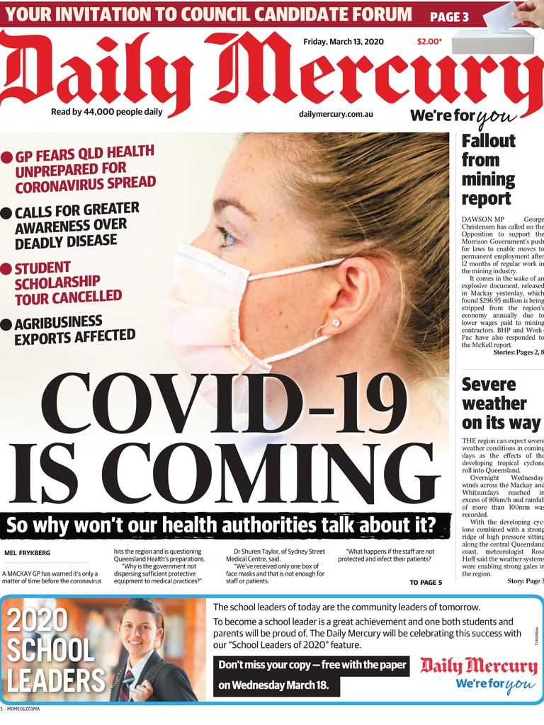 Mackay Daily Mercury front page March 13, 2020.