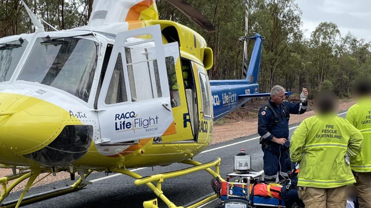 The Bundaberg-based RACQ LifeFlight Rescue helicopter has airlifted a man to hospital, after he was involved in a single vehicle rollover near Mundubbera on December 31, 2020. Photo: Courtesy RACQ LifeFlight Rescue