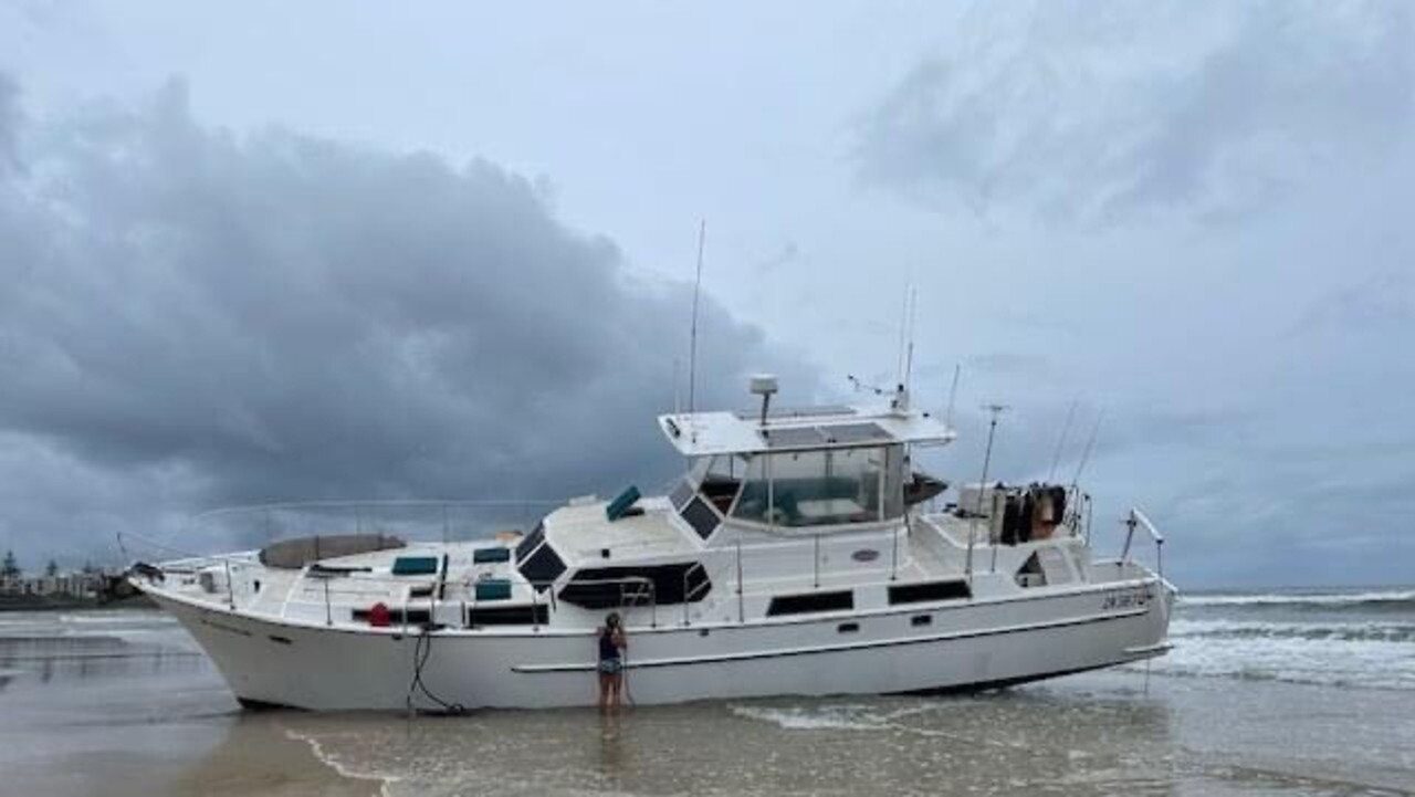 The yacht Focus, which went aground off the northern tip of Bribie Island after its owner David Simpson went overboard. Picture: Caloundra Volunteer Coast Guard