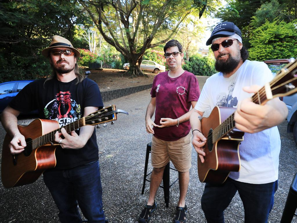 Celebrate some of our best, most heart warming stories from the year that was in 2020!Pictured: Terranorra man Sam Cleaver, 29, (centre) with musicians Bradley Ledwidge and Scott Whitford as they play a street jam session in the Tweed. Photo: Scott Powick