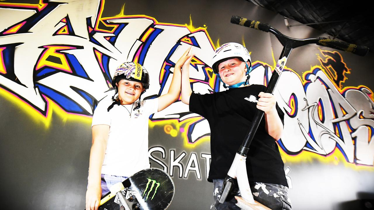 Mitchell, 10, and Brendan King, 12, were excited for the opening of Alley-Oops Indoor Skatepark. Picture: Patrick Woods