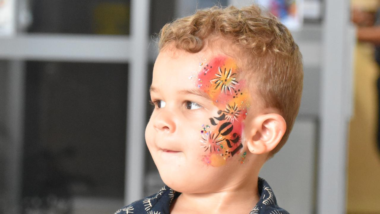 Nikau showing off the rest of his face paint. Picture: Andrew Sorensen
