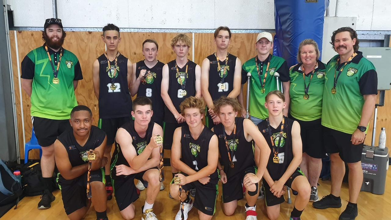 Emerald Chargers Under 18 team. Front: Emmanuel Lepani, Clancy Harrison, Jason Lilje, Dominic Davis, Daley Catip. Back: Assistant coach Ben Mawson, Sonny Slattery-Porter, Kye Walsh, Kyal Prewett, Blake Shields, Mitchell Brewer, team manager Mon Prewett and head coach Chris Podolak.