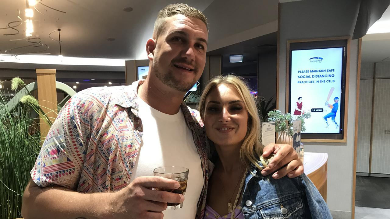 Ross and Michaela Cullen travelled from the Gold Coast to enter the new year with joy. Picture: Andrew Sorensen
