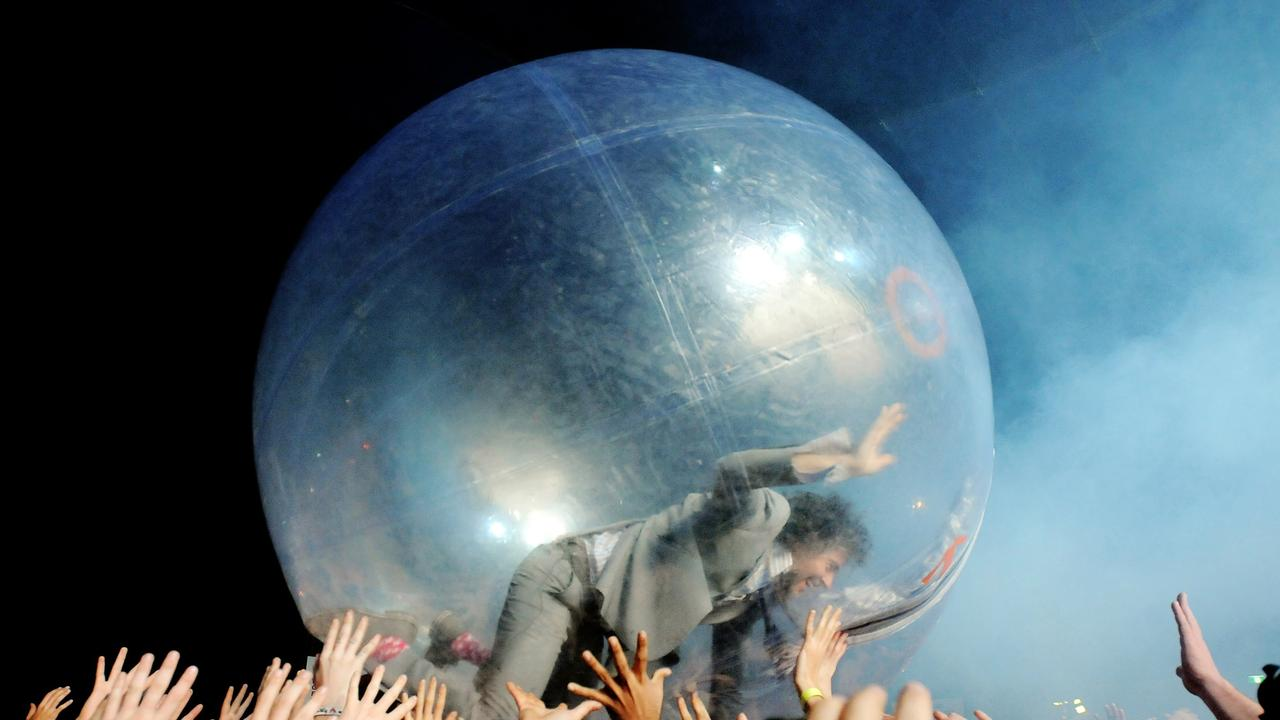 Flaming Lips frontman Wayne Coyne made an impressive entrance to Splendour in the Grass in 2012.