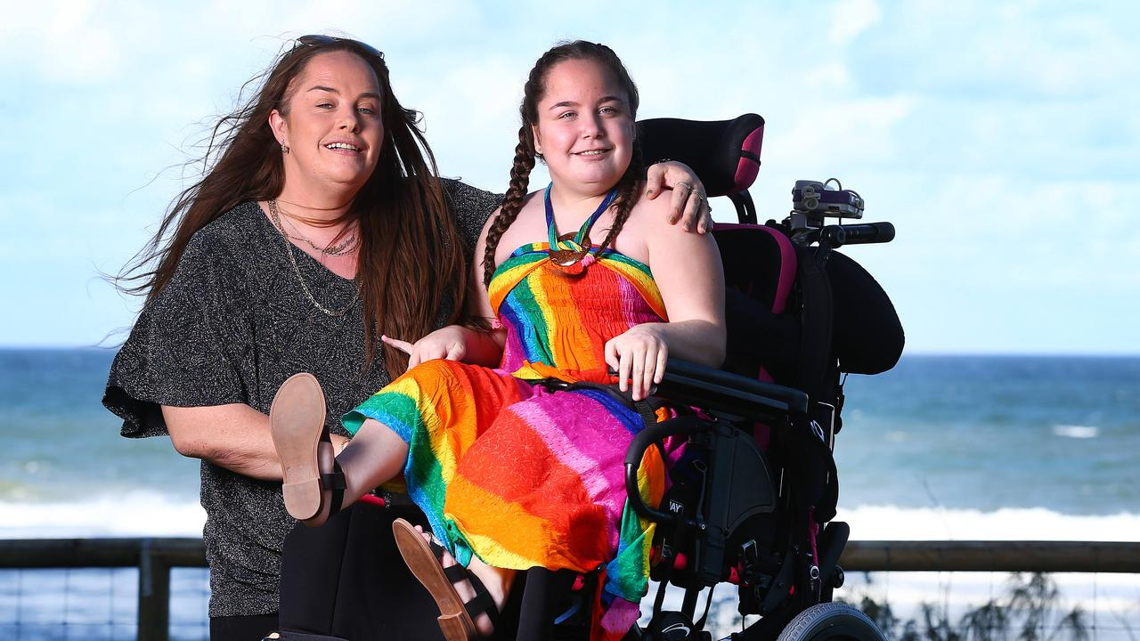 Kaitlyn Spraggon and her mum Katrina on a holiday on the Gold Coast. Picture: Adam Head