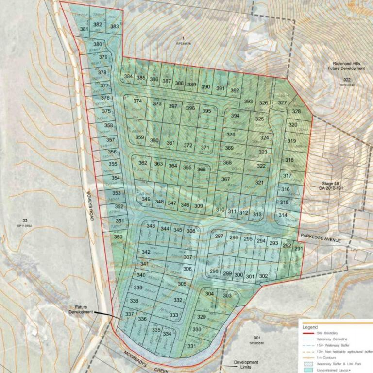 Plans submitted to Mackay Regional Council for stages eight to 13 of Richmond Hills estate, 200m north of Mackay-Habana Rd.