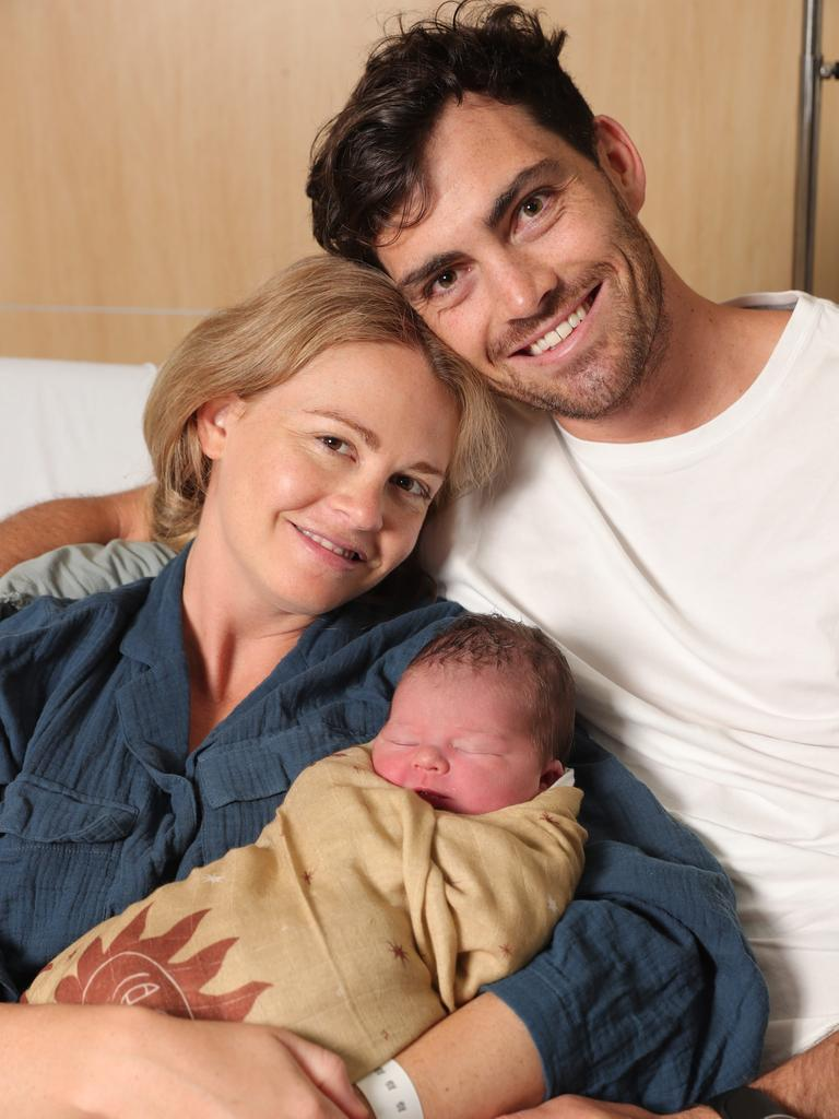Sam Taylor and Eliza Jorgensen from Burleigh Heads with their newborn son, August Van Taylor. Picture Glenn Hampson