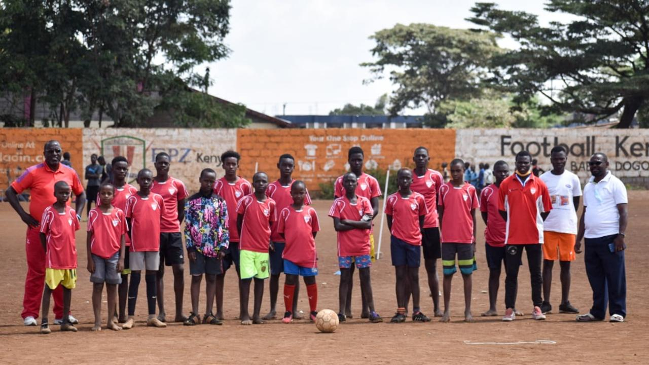 Playing kits from Mackay Regional Football Zone clubs were put to good use by 'estate' teams in Nairobi, Kenya. Mackay photographer Alison Langevad spearheaded the humanitarian venture. Photo: Contributed