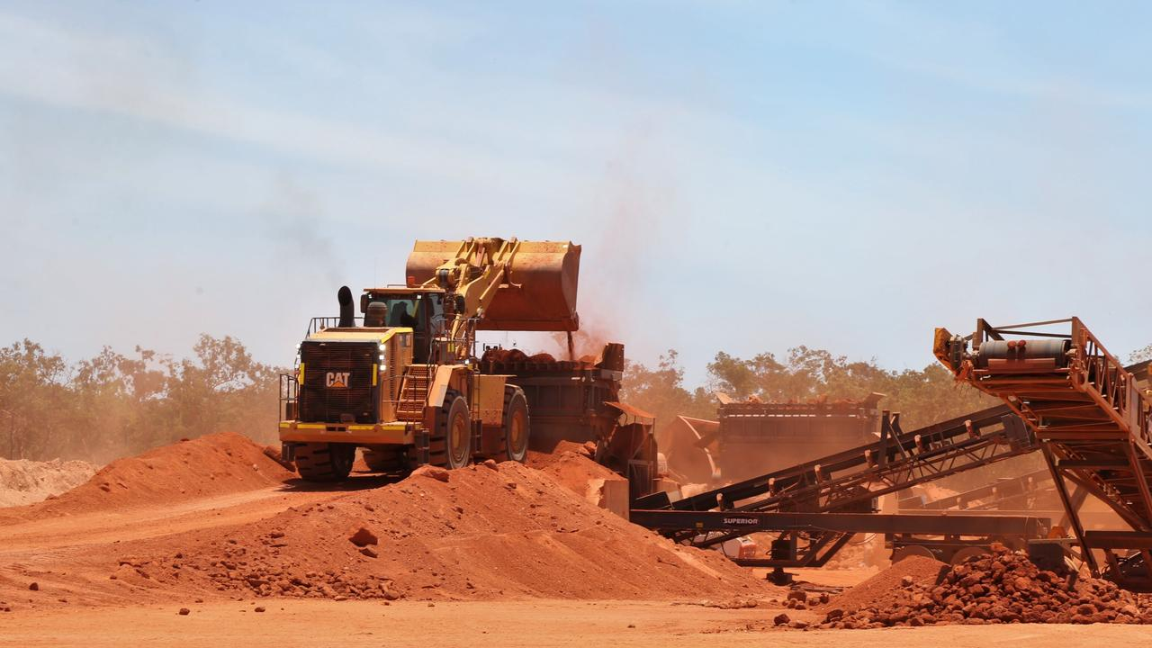 Bauxite ore being fed into crushers at Metro Mining's Bauxite Hills mine. Picture: Peter Carruthers