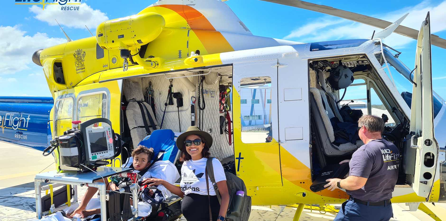 A four year old boy has been airlifted to hospital by the Bundaberg RACQ LifeFlight Rescue helicopter, after being bitten twice by a snake, while on Fraser Island.
