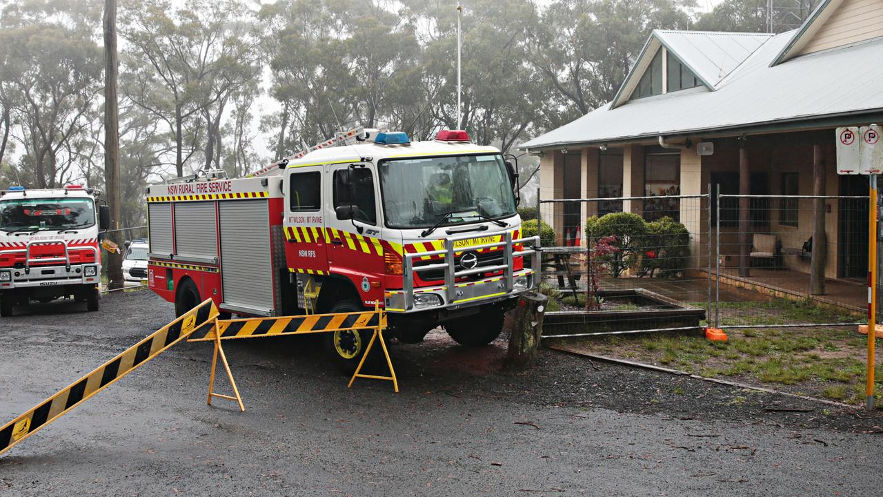 Emergency services vehicles gathered at Mount Wilson RFS headquarters n. Picture: Adam Yip