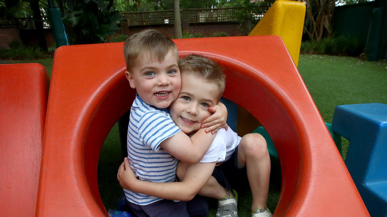 Orlando Dodds, 5, and younger brother Lachlan, 3, enjoy playing at Hunters Hill Preschool. Picture: Toby Zerna