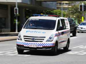Alleged stolen car drives into police van