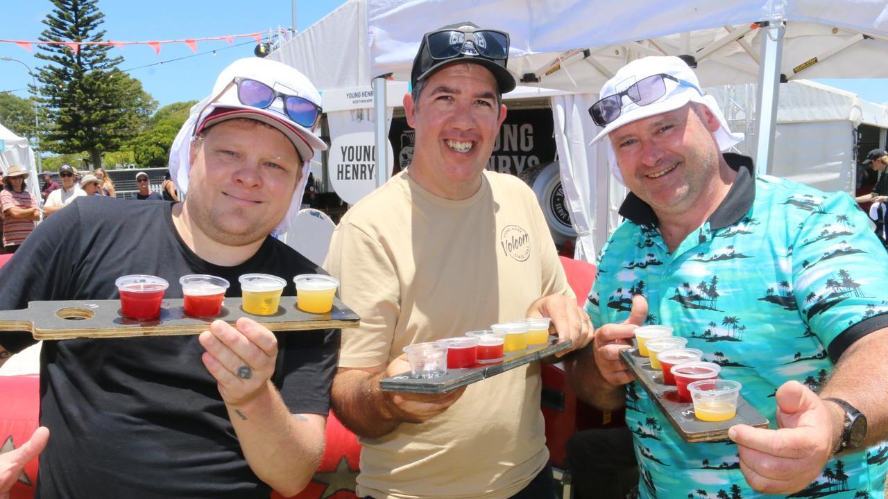 Lucas Perrett, Allen Lamb and Mick Warman at the GABS Summer Craft Beer Festival at Bokarina on Saturday. Picture: Tom Threadingham