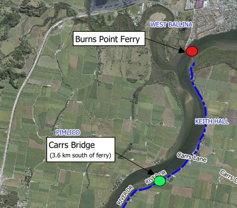 Detours will be in place when Carrs Bridge is replaced at Empire Vale.