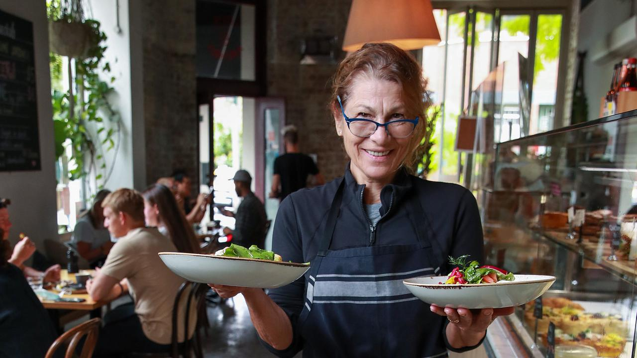Cook and Archies owner Vicki Manakas at her cafe, in Surry Hills. She said JobKeeper has helped her business survive during the pandemic. Picture: Justin Lloyd.