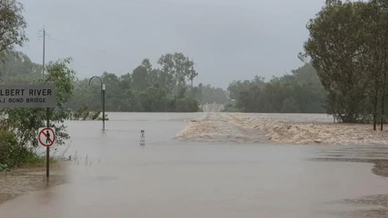 Flooding on the Gulf Development Rd at the Gilbert River on Monday morning. Picture: Robyn Lethbridge/Facebook.