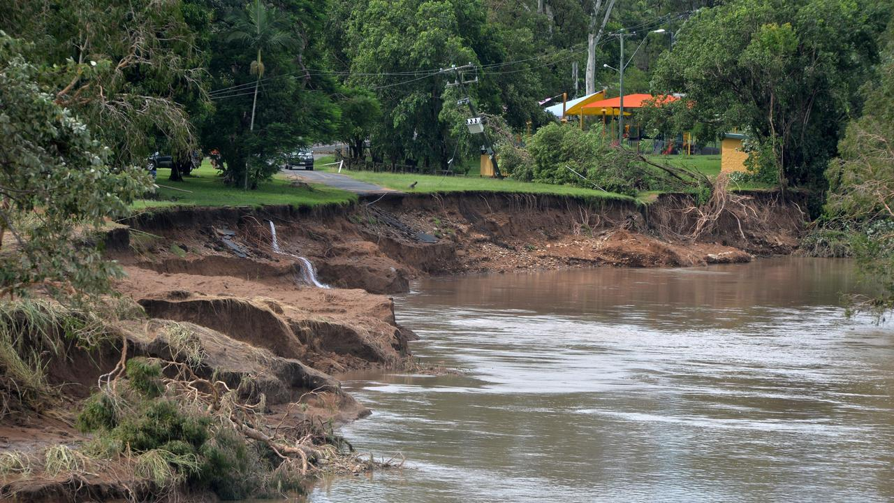 The bank of Plane Creek in the centre of Sarina, washed away during flooding from Cyclone Debbie in 2017. Picture: Tony Martin