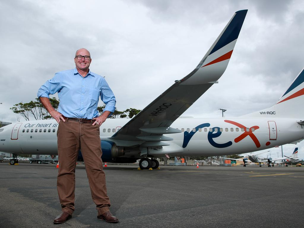 Ex Virgin pilot Anthony Kerr who has landed a job as a pilot of Rex's new fleet of 737s, at Sydney Airport. Picture:Justin Lloyd