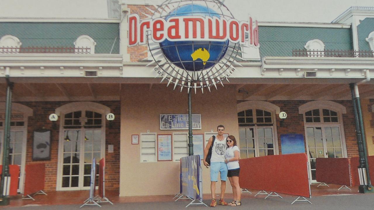 Shandee Blackburn and John Peros at Dreamworld. Date unknown.