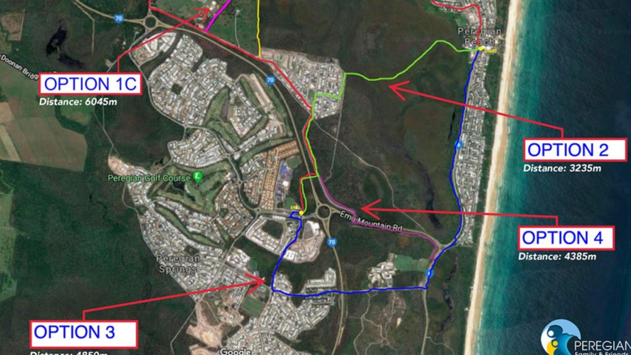 The Peregian Family and Friends bikeway options, with option two listed as the preferred option.