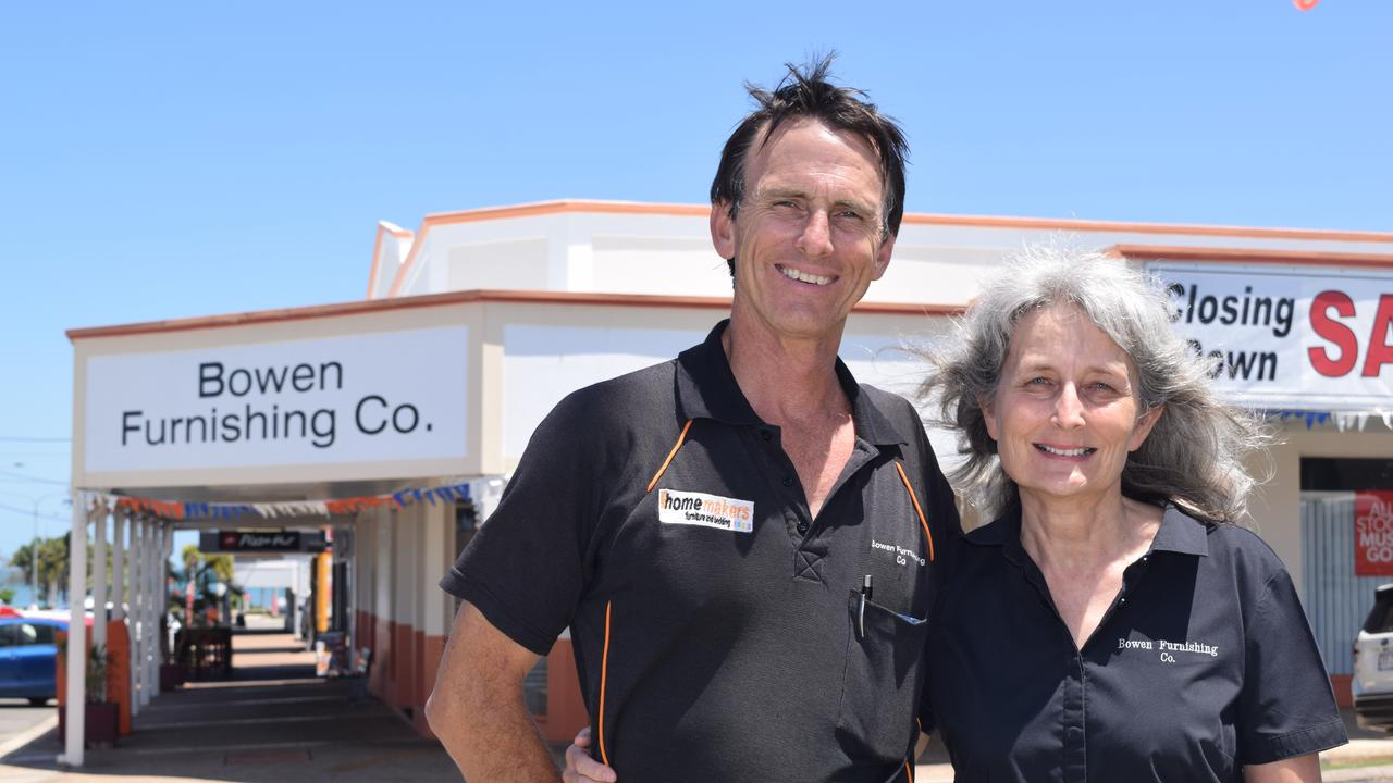 Bowen Furnishing Co owners David and Bronwyn Rynn have thanked their loyal customers. Photo: Elyse Wurm