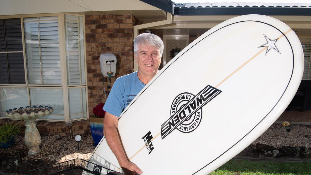 Peter Walters of Tamworth – back in Yamba three months after he had a heart attack on Turners Beach while surfing.