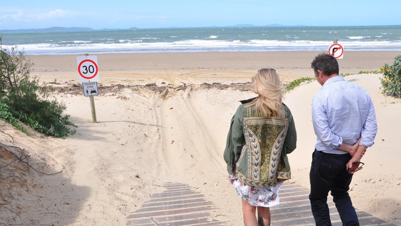 Cr Adam Belot (right) and Clair Fitzpatrick walk the steep incline at the Bangalee access to Farnborough Beach. FILE PHOTO