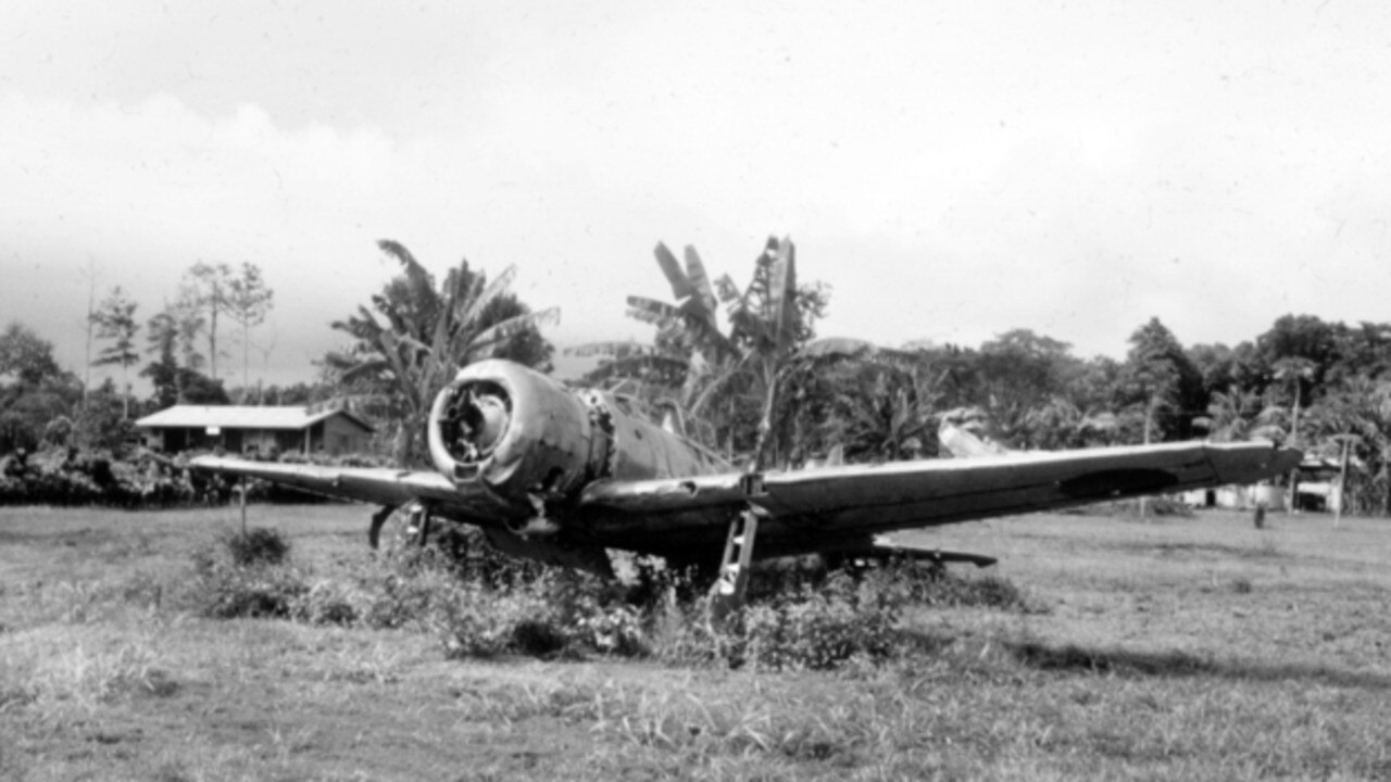 A derelict Japanese fighter, a Mitsubishi A6M2 Zero at Gasmata air strip, New Britain. A relic from World War II, it is representative of many hulks which are occasionally discovered long after hostilities were concluded in 1945. It was recovered by the RAAF and, after extensive restoration, presented to the Australian War Memorial in 1990 where it is now held in the aircraft collection. Picture: