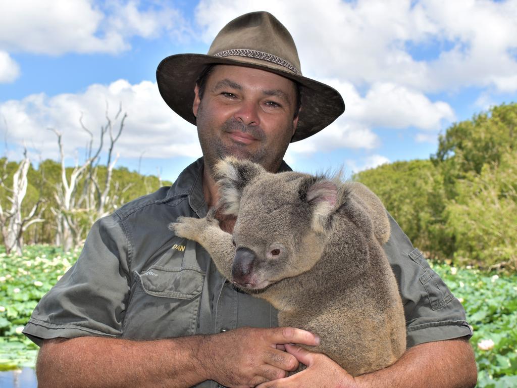 Bredl's Wild Farm co-owner Daniel Bredl holding seven-year-old koala Alfio. Picture: Heidi Petith