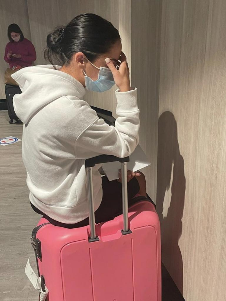 Williams' distraught partner Charlotte Lewis after being told they need to quarantine. Picture: Instagram/georgewilliamss