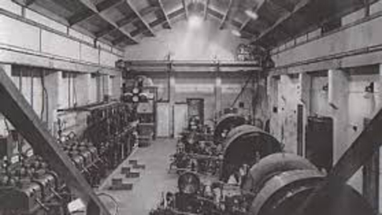 A historic photo showing turbines inside the Barron Falls Power Station. Picture: Kuranda Rainforest Journeys