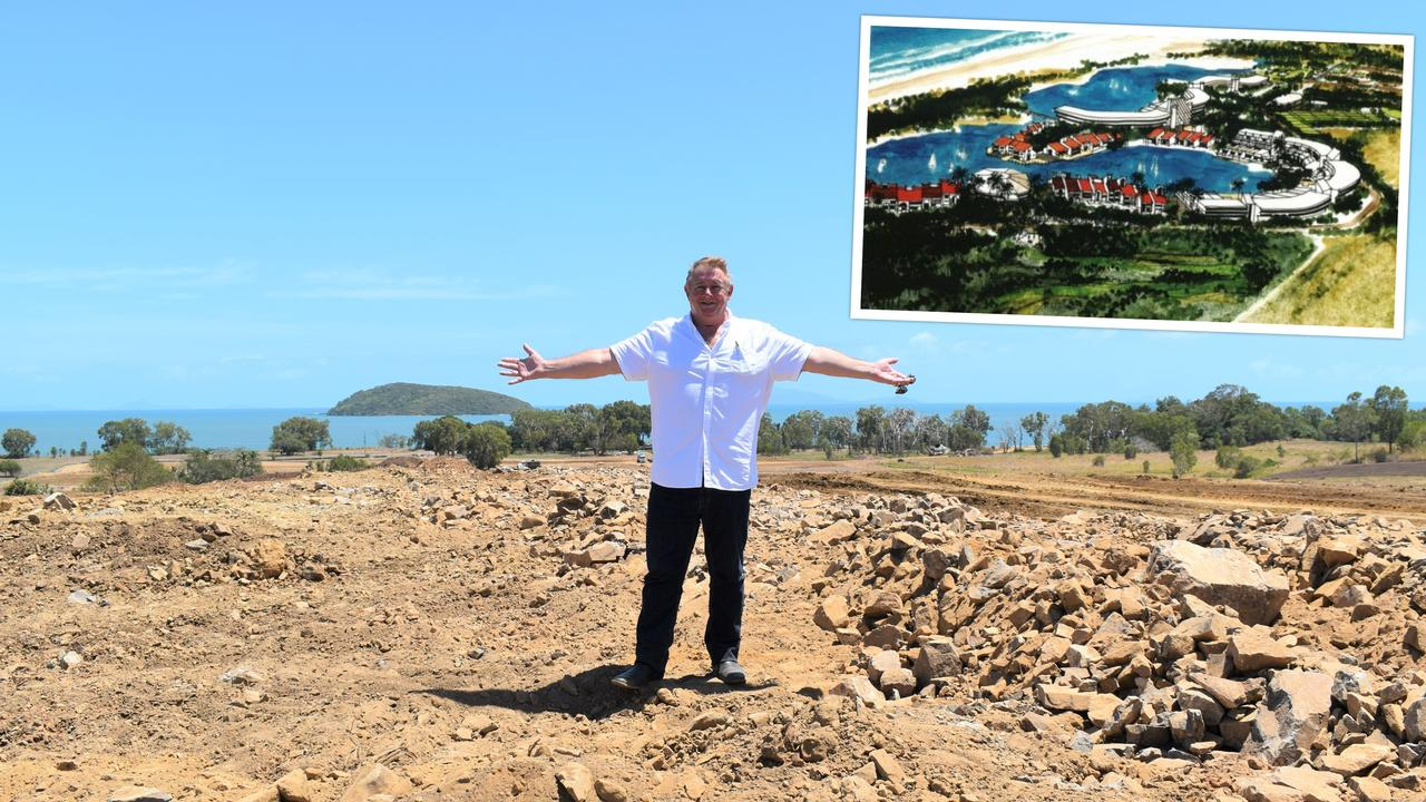 Pappy's Beach sales and marketing director Mark Mahoney standing on top of the hill where residential lots with ocean and island views will be built at the master planned Shoal Point estate. Inset is an artist's impression of a resort that may be built down the track. Picture: Heidi Petith, Contributed