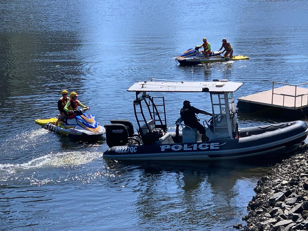 Queensland Police Divers, Gold Coast Water Police and Surf Life Saving Officers at the scene of a drowning early this morning. Photo Scott Powick, Newscorp