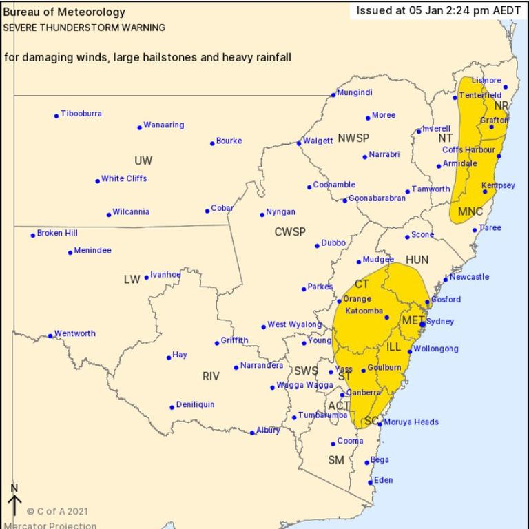 A severe thunderstorm warning has been issued for Grafton and Coffs Harbour this afternoon.