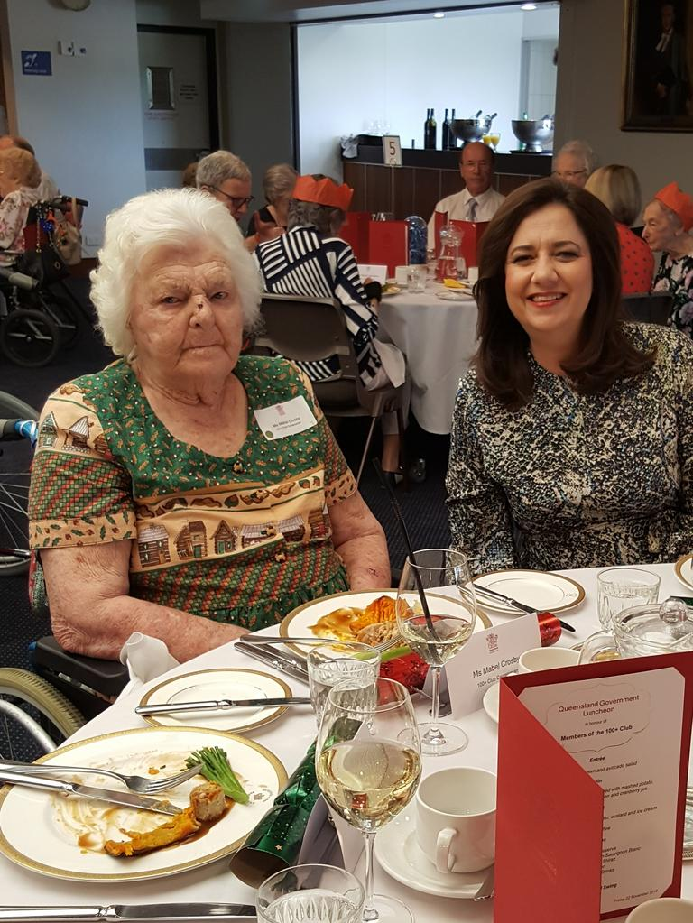 Mabel Crosby on her 110th birthday, with Premier Annastacia Palaszczuk, at TriCare Sunnybank Hills aged care facility in 2019
