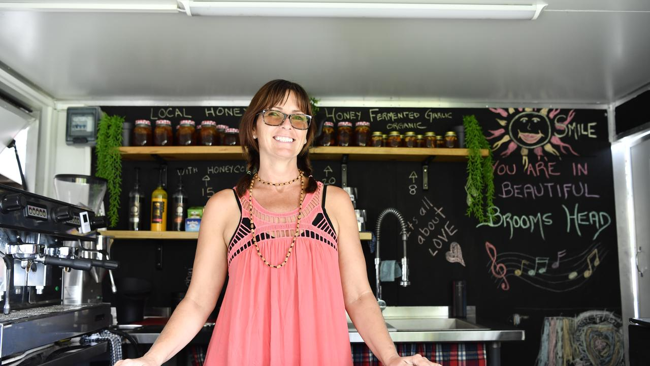After spending a year in Brooms Head after arriving from Canada, Shoni Colgan has opened her own business Shoni's Coffee Buzz for the summer holidays at the coastal village.