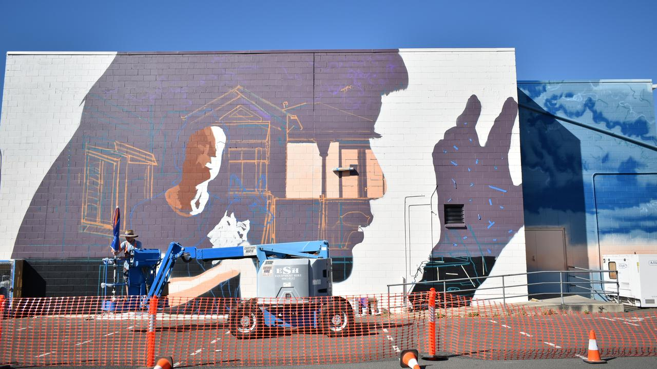 NEW FUNDING: The $100K+ funding could go towards projects similar to this street art on the back wall of Warwick Twin Cinemas. Picture: SDRC